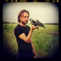 Andrzej z ptakiem... fotografia analogowa...